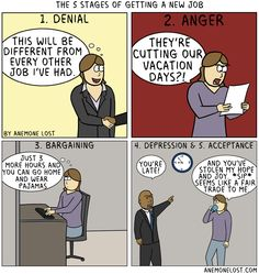 The 5 stages of getting a new job - http://2funnys.com/the-5-stages-of-getting-a-new-job/ - 5, job, Stages