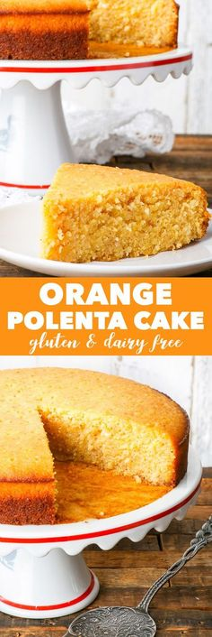 *Make with Lemon* Gluten & Dairy Free Orange Polenta Cake {gluten, dairy, soy, peanut & ref. sugar free} - This gluten and dairy free orange polenta cake is supercharged with citrusy goodness. It's soft and dense, moist and crumbly Wheat Free Recipes, Dairy Free Recipes, Baking Recipes, Cake Recipes, Dessert Recipes, Gluten Free Cakes, Gluten Free Baking, Gluten Free Desserts, Just Desserts