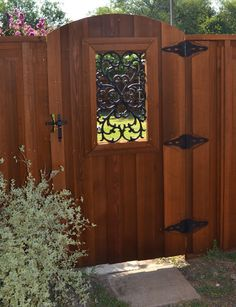 wooden gates with iron inserts | Clear Cedar Arch Gate with Iron Inserts