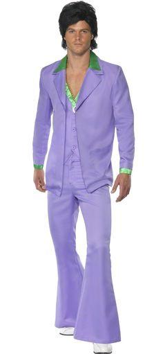 Disfraz estilo disco años 70 para hombre: Este disfraz disco de los años 70 para hombre está compuesto de un pantalón y una chaqueta tipo blazer, unidos en una única pieza. El pantalón con patas de...