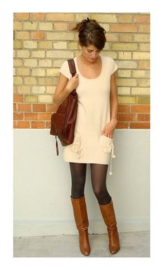 Dress with Tall Boots. Comfy cute.