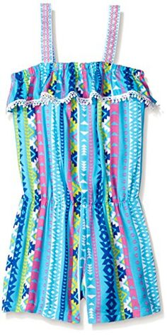 Derek Heart Big Girls Elastic Waist Romper with Jacquard Straps and Trim, Turquoise, Small