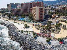 Aerial view of Sunset Beach Club hotel in Benalmadena Costa, Malaga, Spain. Sunset Beach Club, Hotel Sunset, Sunset Beach Weddings, Wedding Beach, Aerial Photography, Video Photography, Benalmadena, Malaga Spain, Aerial View