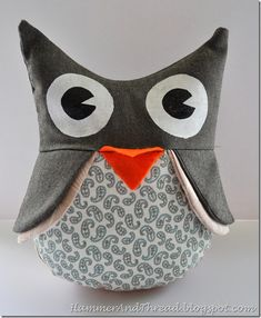 Owl stuffed animal tutorial.  I made mine mostly in turquoise corduroy.  Came out really cute.