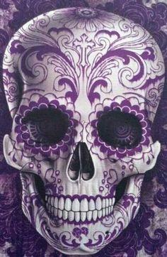 Purple Calavera Skull art poster for Dia de los Muertos Sugar Skull Tattoos, Sugar Skull Art, Sugar Skulls, Sugar Skull Meaning, Candy Skulls, La Muerte Tattoo, Tattoo Crane, Los Muertos Tattoo, Tattoo Caveira