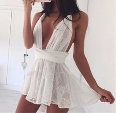 White Lace Detail Wrap-Around Romper