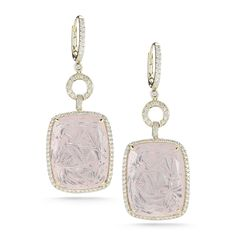 Courtney Lauren pale pink quartz drop earrings surrounded by 1.82 carats of diamonds laid in 14k yellow gold.