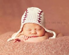 Baby Boy knit baseball ear flap hat - custom order