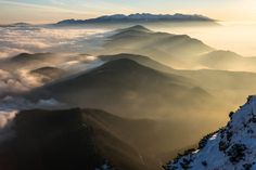 Tatras Mountains from Velky Choc Peak by Martin Vaculík on Habitats, Mists, Mount Everest, Clouds, Vacation, Mountains, Places, Photography, Travel