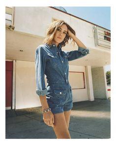 Loretta Long sleeve denim jumpsuit by Alexa Chung for AG Jeans