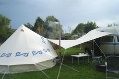 The Spinnaker Tarp is used to join the Bell Tent to the Campervanjoin