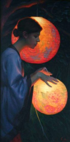 ☂ Paper Lanterns Parasols ☂ Japonisme Art and Illustration - Adrienne Stein Art And Illustration, Illumination Art, Chinese Lanterns, Fine Art, Paper Lanterns, Nocturne, Japanese Art, Painting & Drawing, Oil On Canvas