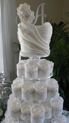 Wedding Dress Cupcakes, Lace Cupcakes, Cupcake Cakes, Cupcake Wedding, Dress Wedding, Lace Wedding, White Cupcakes, Shoe Cakes, Purple Wedding