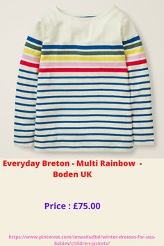 Everyday Breton - Multi Rainbow - Boden UK Usa Baby, Boden Uk, Baby Smiles, Winter Dresses, Winter Season, Rainbow, Babies, Children, Sweaters