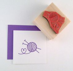 Knitting Love Rubber Stamp by cupcaketree on Etsy, $6.50