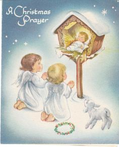 Vintage Christmas Card Angels Baby Jesus in a Manger Made in USA Marjorie Cooper