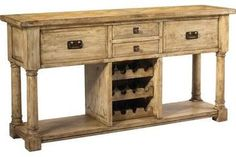 New Sideboard Product DetailsDimensions (inches):36H x 71W x 18DComment:Antiques are great, but they never seem to come with an integrated wine rack. That's just one thing that makes this reproduction