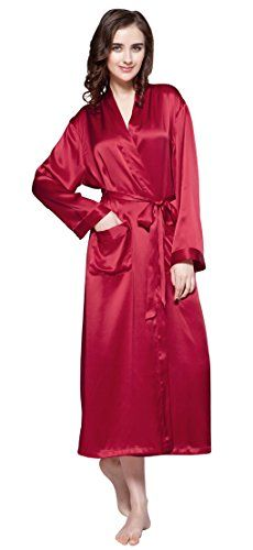 fd52f211ed LILYSILK Women s Silk Dressing Gown Long Ladies Kimono Robe 100% Pure  Mulberry 22 Momme Silk