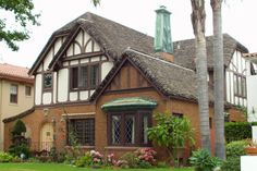 CURB APPEAL – another great example of beautiful design. Tudor with traditional exterior in los angeles by Steven Corley Randel, Architect. Exterior Trim, Exterior Design, Copper House, House Trim, Tudor Style Homes, Tudor House, Thatched Roof, Traditional Exterior, Architecture Details