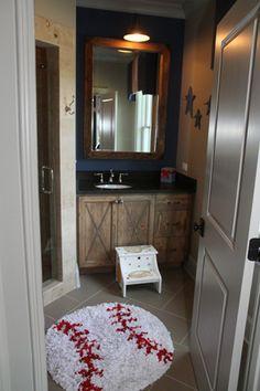 Mark Wohlers' home – baseball bathroom – kids bathroom ideas Boys Bathroom Themes, Baseball Bathroom Decor, Sports Bathroom, Bathroom Kids, Kids Bath, Downstairs Bathroom, Bathroom Mat, Boy Room, Home