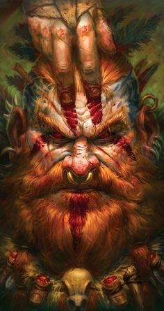 Blood Barbarian fantasy painting by James Bousema