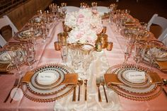 Blush Shantung, Bella Glassware, Gold Beaded Chager, Galina China,Brushed Gold Flatware, Après Party and Tent Rental, Photography: Gray Duck Studios — at 514 Studios.
