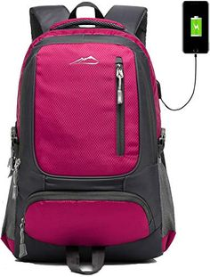 34c05ae1532 School Backpack Bookbag With USB Charging Port For College Travel Hiking  Fit Laptop Up to 15.6 Inch (Pink)
