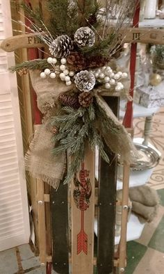 images about Snow Sled Decor Christmas Sled, Primitive Christmas, Country Christmas, Christmas Projects, Winter Christmas, Vintage Christmas, Christmas Wreaths, Christmas Sleighs, Christmas Ideas