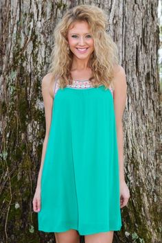 Spring perfection! Must have, spearmint dress with embroidered detail! Love! Repin!