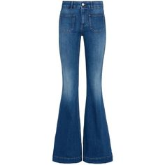 Stella Mccartney Classic Blue 70s Flares ($175) ❤ liked on Polyvore featuring jeans, pants, bottoms, calças, classic blue, stretchy high waisted jeans, stretch flare jeans, flare jeans, mid-rise jeans and mid rise flare jeans