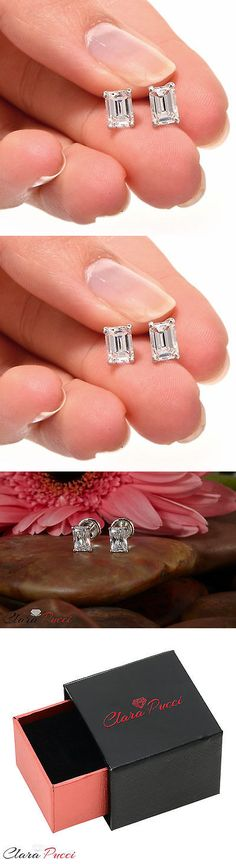 Other Fine Earrings 10984: 1.0Ct Emerald Solitaire Stud Earrings Diamond Simulant 14K White Gold Screwback -> BUY IT NOW ONLY: $202.47 on eBay!