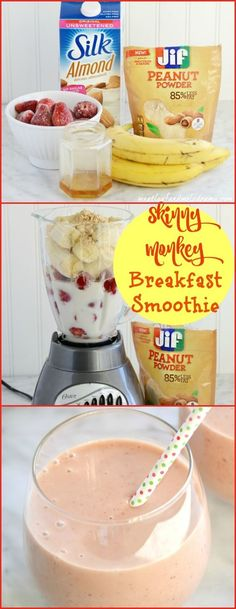 Skinny Monkey Breakfast Smoothie Made with Jif Peanut Powder Silk Almond Milk fruit and honey it's healthy dairy free gluten free and super quick and easy to make Perfect for breakfast on the go! AD Click the image for more info. Breakfast Smoothie Recipes, Healthy Smoothies, Healthy Drinks, Smoothie Detox, Healthy Recipes, Breakfast Fruit, Breakfast Ideas, Free Breakfast, Breakfast Healthy