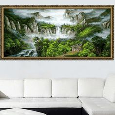 Smokey Mountain and Great Waterfall DIY Acrylic Paint by Number Kit Art Collection Home Decoration