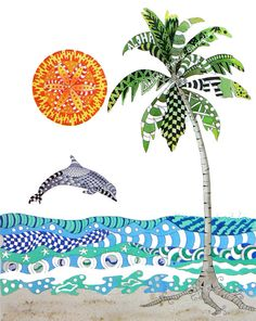 a beautiful interpretation of zentangle Beach Party. $25.00, via Etsy.