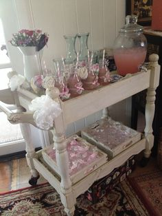 Vintage Baby Shower Drinks Trolley