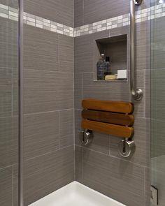 banc salle de bain alternatif- siège rabattable en bois de teck imperméailisé et acier brossé