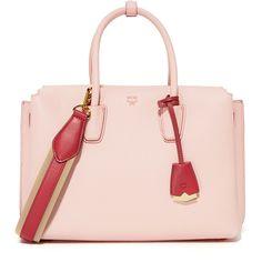 MCM Milla Satchel (€870) ❤ liked on Polyvore featuring bags, handbags, shoulder strap handbags, shoulder strap purses, leather satchel handbags, pink purse and mcm handbags