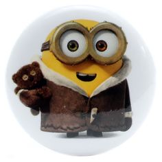 "Coat Wearing Bob with Teddy Bear 1.25"" Button"
