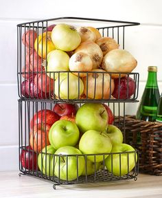 Sets of 2 Stackable Wire Storage Baskets Wire Basket Storage, Wire Storage, Storage Baskets, Kitchen Dining, Kitchen Decor, Home Storage Solutions, Storage Ideas, Ltd Commodities, Lakeside Collection