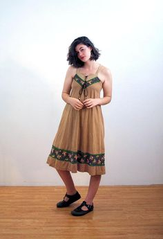70s Young Edwardian Dress S, Hippie Dress, 1970s Sundress, Corset Lacing Dress, Criss Cross Back, Arpeja Dress, Brown Bohemian Sundress