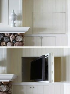 A TV in a deep niche can swivel into the wall when not in use, via Tom Stringer Design Partners.