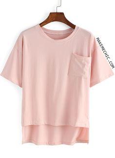 0fb2d6f9a49d7 Pink Front Pocket Dip Hem T-shirt Pocket Tees
