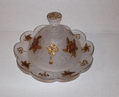 EAPG Greentown Wild Rose & Bow Knot RARE Domed BUTTER DISH Glassware