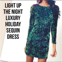 ❗️FINAL PRICE HURRY BEFORE THEY GO❗️ This elegant green mini sequin vneck back dress with 3/4 sleeve is absolutely perfect for the holidays. I only have two in green so get them while they last. These were expensive so price is firm unless bundled. Soft velvet black material with green sequins all over. Not itchy as it has a soft silk like lining. Only have Small and Medium. This is a mini dress and is supposed to be a slightly more fitted fit. Dresses Mini
