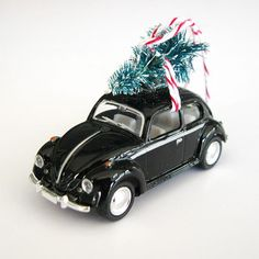 VW Bug Beetle Christmas Ornament with Tree on Top