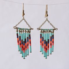 Southwestern Jewelry Beaded Dangle Earrings by RockSugarStudio, $21.00