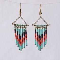 Southwestern Jewelry Beaded Dangle Earrings by RockSugarStudio, $21.00