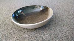 Large shallow bowl;  Blue Hare's Fur and Sandstone glaze on red clay