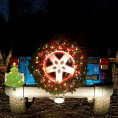 Spare Jeep tire lighted Christmas wreath