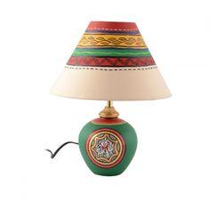 ExclusiveLane 13 Inch Terracotta Handpainted Warli Matki Lamp Green - Lighting n Lamps by ExclusiveLane for Beeja